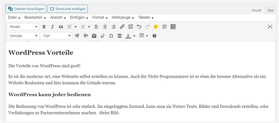 Der WordPress Texteditor